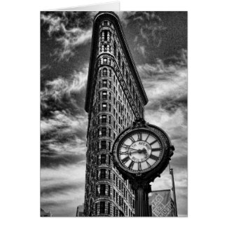 Flatiron Building and Clock in Black and White Greeting Card