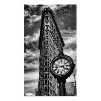 Flatiron Building and Clock in Black and White Pack Of Standard Business Cards