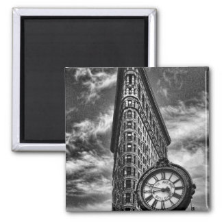 Flatiron Building and Clock in Black and White Square Magnet