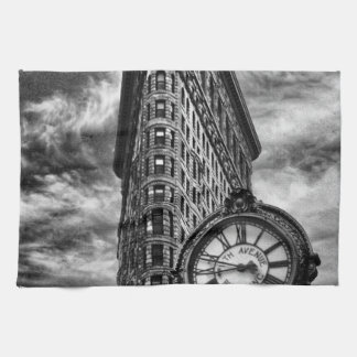 Flatiron Building and Clock in Black and White Tea Towel