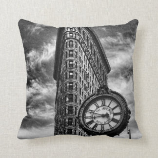 Flatiron Building and Clock in Black and White Throw Cushion
