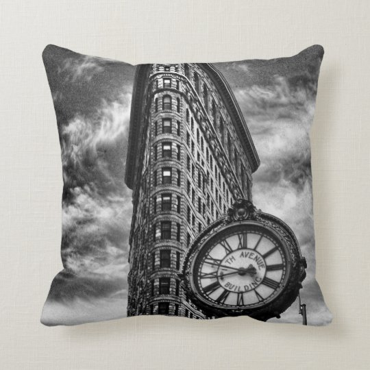 Flatiron Building and Clock in Black and White