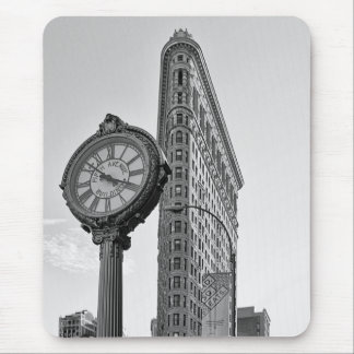 Flatiron Building and Clock in Black White #2 Mouse Mat