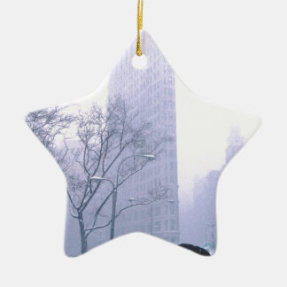 Flatiron Building Snow Storm NeW York Christmas Ornament