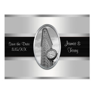 Flatiron Building White Silver BW Save the Date Postcards