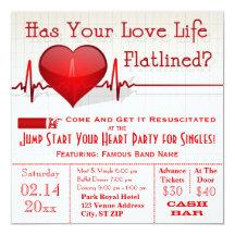 Flatlined Heart Graph Anti-Valentine's Day Invite 13 Cm X 13 Cm Square Invitation Card