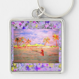 flats flyfishing girl drip Silver-Colored square key ring