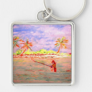 flats flyfishing girl watercolour Silver-Colored square key ring