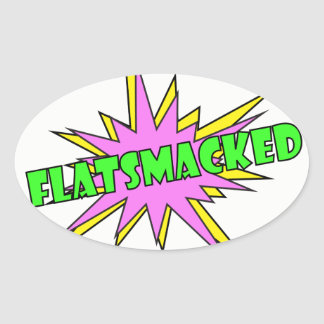 #FLATSMACKED Oval Stickers Green