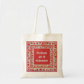 Flautists do it sideways budget tote bag
