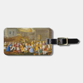 Flax Scutching Bee, 1885 (oil on bed ticking) Luggage Tag