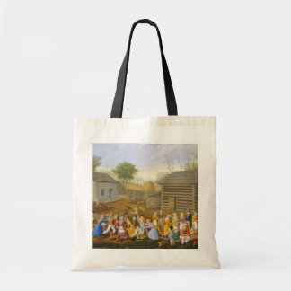 Flax Scutching Bee, 1885 (oil on bed ticking) Tote Bag