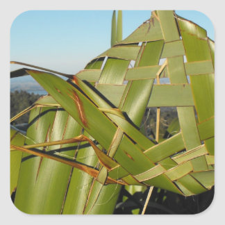 Flax Weaving Square Sticker
