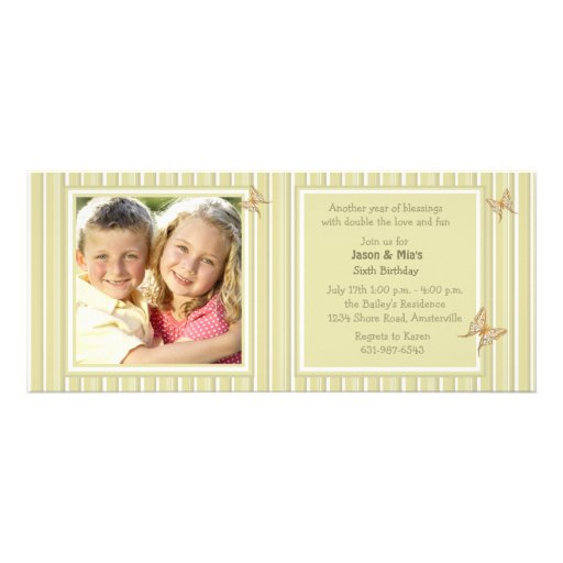 Flaxen Stripes Photo Invitation