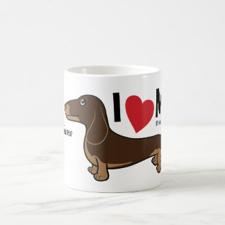 "FLDR ""I Love My"" Smooth Choc/Tan Dachshund Mug. Coffee Mug"