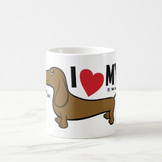 "FLDR ""I Love My"" Smooth Red doxie character mug. Coffee Mug"