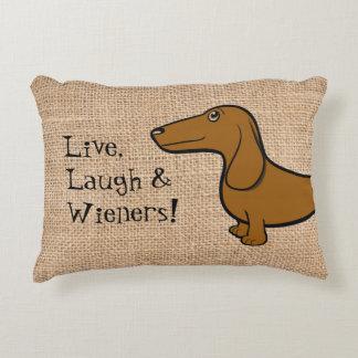 """FLDR Oscar """"Live, Laugh & Wieners"""" Pillow"""