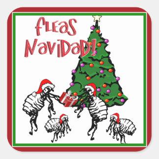 FLEAS NAVIDAD - Christmas Fleas and Christmas Tree Square Sticker