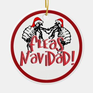 Fleas Navidad - Dancing Christmas Fleas Round Ceramic Decoration