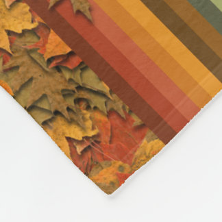 Fleece Blanket - Autumn Leaves and Stripes