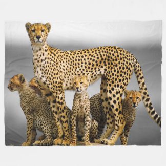Fleece Blanket/Cheetah & Cubs
