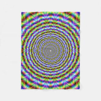 Fleece Blanket   Circular Psychedelic Neon Ripples