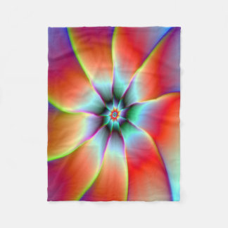 Fleece Blanket  Flower in Red Orange and Yellow