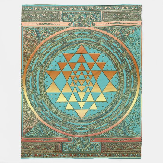 Fleece Blanket gold chakra symbol yoga spiritual