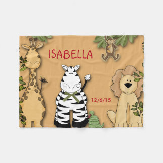 Fleece Blanket Jungle, Giraffe, Lion,Zebra, Monkey