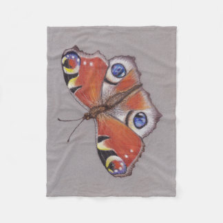 Fleece Blanket/small with Peacock Butterfly
