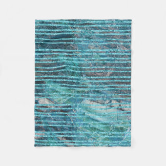 Fleece Blankets Green Marble With Turquoise Lines