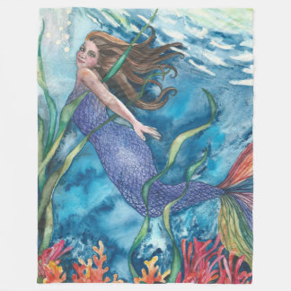 Fleece Mermaid Blanket CORAL GARDENS Large