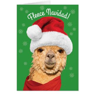 Fleece Navidad Cute Alpaca in Santa Hat Christmas Card