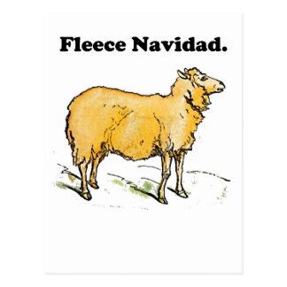 Fleece Navidad Golden Christmas Sheep Cartoon Postcard
