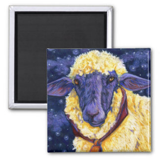 Fleece On Earth - Starry Night Sheep Square Magnet