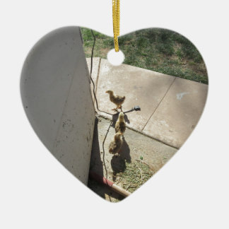 Fleeing Chicks Double-Sided Heart Ceramic Christmas Ornament