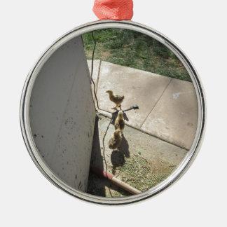 Fleeing Chicks Round Metal Christmas Ornament