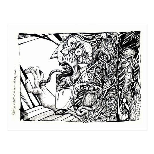 Fleeing in terror from an empty room postcard