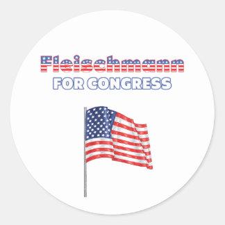 Fleischmann for Congress Patriotic American Flag Round Sticker