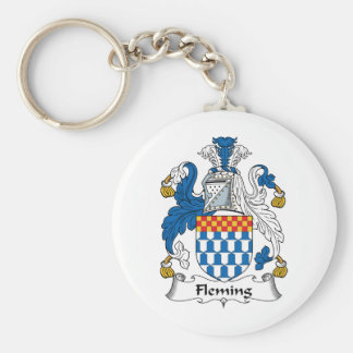 Fleming Family Crest Basic Round Button Key Ring