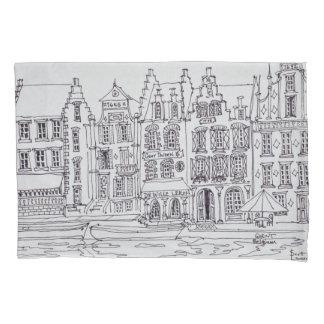 Flemish Architecture waterfront, Ghent, Belgium Pillowcase