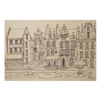 Flemish Architecture waterfront, Ghent, Belgium Wood Print