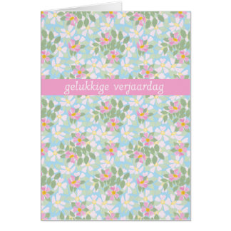 Flemish Birthday Card: Pink Dogroses on Blue Card