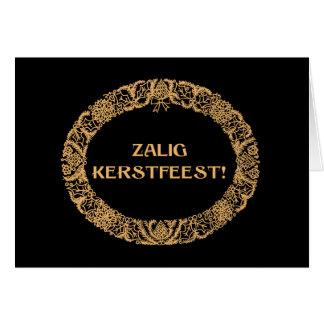 Flemish Christmas Wreath Card Gold-effect on Black