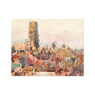 Flemish Cityscape Beautiful Artistic Cityscape Stretched Canvas Prints