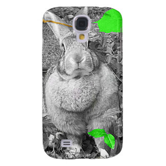 Flemish Giant Rabbit B & W with Green Leaves Galaxy S4 Case