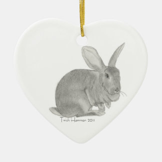 Flemish Giant Rabbit Sketch Christmas Ornament