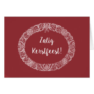 Flemish Greeting Christmas Wreath White, Deep Red Card