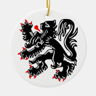 Flemish Lion. Round Ceramic Decoration