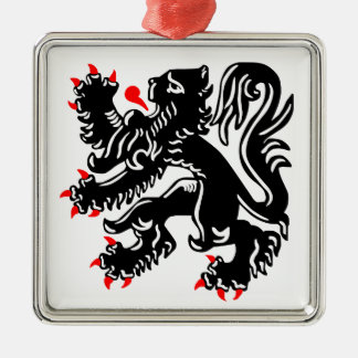 Flemish Lion. Silver-Colored Square Decoration